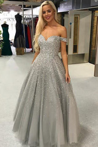 Beautiful A Line Grey Tulle Off Shoulder Silver Beaded Long Formal Prom Dress Evening Dress OHC389 | Cathyprom