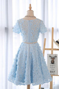 Lace Short Blue Prom Dress Blue Homecoming Dress Knee Length with Appliques HD2