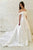 A-Line Off-the-Shoulder Sweep Train White Satin Wedding Dress OHD072 | Cathyprom
