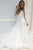 A-Line V-Neck Long Sleeves Sweep Train White Wedding Dress with Appliques OHD004 | Cathyprom