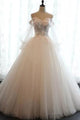 Chic Ball Gown Off-the-shoulder Sweep Train Long Sleeves Tulle Bridal Gown Wedding Dresses OHD148 | Cathyprom