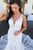 Mermaid  V Neck Chapel Train White Long Wedding Dresses Appliques OHD099 | Cathyprom
