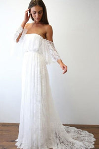 A-Line Off-the-Shoulder Sweep Train Lace Beach Wedding Dress OHD019 | Cathyprom