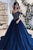 Elegant Navy Blue Tulle Off Shoulder Long Princess Formal Prom Dress Evening Gown OHC372 | Cathyprom