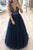 Sparkly A Line V Neck Floor Length Sleeveless Beaded Sequins Long Navy Blue Tulle Prom Dress OHC344 | Cathyprom
