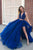 Sexy Two Piece Halter Sleeveless Beading Split Long Royal Blue Organza Prom Dresses OHC316 | Cathyprom