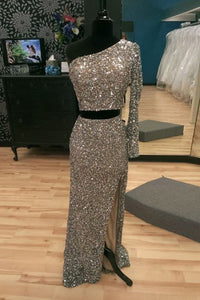 Sparkling One Shoulder Two-piece Split Mermaid Silver Prom Party Dress LPD67 | Cathyprom