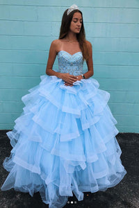 Elegant Sweetheart Neck Blue Tulle Multi-layered Long Beaded Ball Gown Formal Prom Dress OHC380 | Cathyprom
