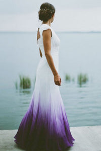 A-Line V-Neck Open Back Ombre Purple Chiffon Wedding Dress with Lace OHD013 | Cathyprom