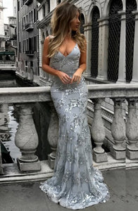 Mermaid Deep V-Neck Backless Sweep Train Grey Tulle Prom Dress with Appliques Z33