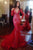 Mermaid Deep V-neck Long Sleeves Sweep Train Red Prom Dress with Lace Beading P90 | Cathyprom