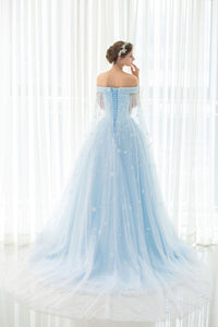 A Line Off-the-shoulder Sweep/Brush Train Sleeveless Long Tulle Prom Dress/Evening Dress OHC134 | Cathyprom