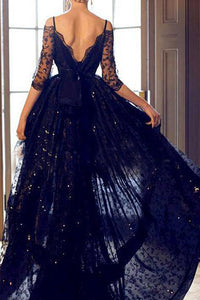 A-Line Off-the-Shoulder High Low Navy Blue Lace Prom/Homecoming Dress LPD76 | Cathyprom