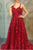 A Line Spaghetti Strap Burgundy Sleeveless Appliques Long Prom Dress OHC173 | Cathyprom