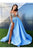 Sexy Prom Dress Blue Satin A-Line Side Slit Long Sleeves Prom Dresses Evening Dresses OHC600