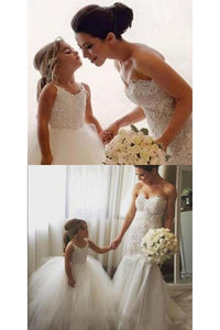 A Line Spaghetti Straps Lace Sleeveless Ivory Tulle Flower Girl Dresses  OHR024 | Cathyprom