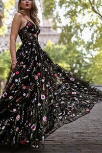 A-Line Spaghetti Straps Floor-Length Black Lace Prom Dress with Appliques LPD81 | Cathyprom