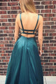 A-Line Scoop Backless Sweep Train Dark Green Satin Prom Dress with Pockets LPD82 | Cathyprom