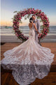 Mermaid V-Neck Backless White Bridal Gown Detachable Lace Wedding Dress OHD242