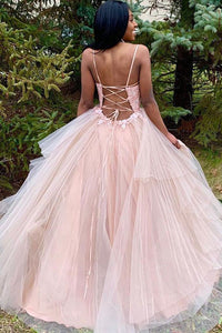 Hot Spaghetti Straps Sleeveless Open Back Appliques Prom Dresses OHC162 | Cathyprom