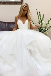 Ball Gown Charming Bohemian Wedding Dresses White Tulle Wedding Gown Bridal Gown OHD186