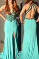 Sheath Split Backless Sweep Train Beading Turquoise Prom Dress P65