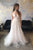 A-Line V-Neck Sweep Train Pearl Pink Wedding Dress with Appliques OHD060 | Cathyprom