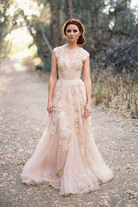 Sexy A-line V-neck Floor-length Sleeveless Tulle Bridal Gown Wedding Dresses Appliques OHD140 | Cathyprom