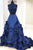 Sparkly Two Piece Ball Gown Prom Dresses Halter Sleeveless Taffeta Beading Ruffles Long Prom Dress OHC255 | Cathyprom