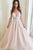 A-Line Spaghetti Straps Pearl Pink Wedding Dress with Appliques OHD090 | Cathyprom