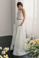Two Piece Crew Open Back Sweep Train Ivory Lace Wedding Dress with Pockets OHD052 | Cathyprom