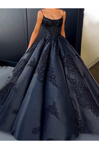 Sparkly Ball Gown Spaghetti Straps Floor Length Sleeveless Appliques Long Satin Prom Dress OHC220 | Cathyprom
