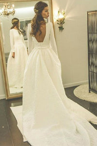 A-Line Bateau Backless Satin Wedding Dress with Pockets Sleeves OHD011 | Cathyprom