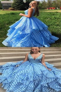 Sky Blue Beading V-neck Unique Organza Ball Gown Sleeveless Prom Dresses LPD14