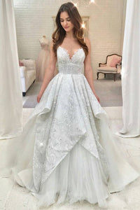 A-Line Spaghetti Straps Sweep Train White Wedding Dress with Lace OHD071 | Cathyprom