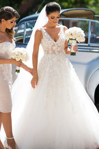 A-Line V-Neck Sweep Train White Wedding Dress with Appliques OHD075 | Cathyprom