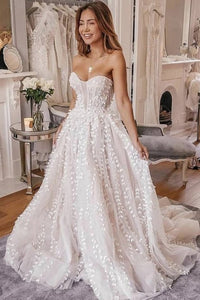 A-Line Sweetheart Sweep Train Ivory Wedding Dress with Appliques OHD089 | Cathyprom