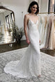 Mermaid Spaghetti Straps Sweep Train White Appliqued Wedding Dress OHD082 | Cathyprom