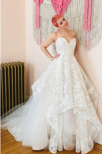 A-Line Sweetheart Sweep Train Wedding Dress with Appliques OHD083 | Cathyprom