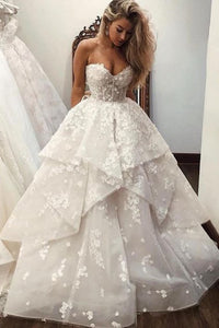 A-Line Sweetheart Sweep Train Wedding Dress with Appliques OHD064 | Cathyprom