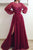 Sparkly A-line Long Sleeve Prom Dresses Long Burgundy Lace Beading Slit Tulle Prom Dress OHC256 | Cathyprom