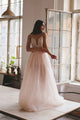 A-Line Spaghetti Straps Split Beaded Sleeveless Tulle Wedding Dress with Appliques OHD116 | Cathyprom