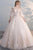 Chic Ball Gown Off-the-shoulder Sweep Train Half Sleeves Long Tulle Bridal Gown Wedding Dresses OHD158 | Cathyprom