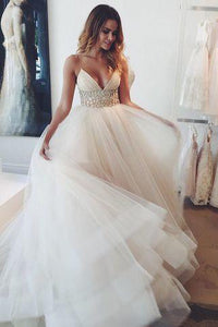Sexy A Line Spaghetti Straps Sweep/Brush Train Sleeveless Long Tulle Bridal Gown Wedding Dresses OHD161 | Cathyprom