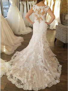 Mermaid Crew Neck Cap Sleeves Sweep Train White Wedding Dress with Appliques OHD002 | Cathyprom