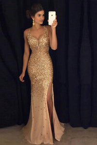 Sexy Sheath/Column Straps Floor Length Sleeveless Long Tulle Prom Dress Evening Dress Slit OHC125 | Cathyprom
