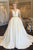 A-Line V-Neck Open Back Sweep Train White Satin Wedding Dress with Beading Pockets OHD007 | Cathyprom