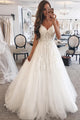 A-Line Spaghetti Straps Sweep Train White Sleeveless Tulle Wedding Dress Bridal Gown with Appliques OHD119 | Cathyprom