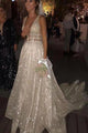 Sparkly A Line Deep V Neck Sweep Train Backless Sleeveless Sequins Wedding Dress OHD093 | Cathyprom
