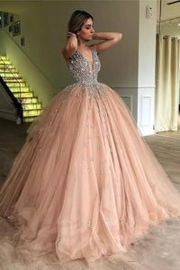 Sparkly Ball Gown Straps V-neck Floor-length Sleeveless Long Tulle Prom Dress OHC218 | Cathyprom